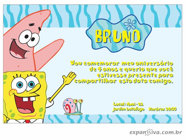 Convites Infantis Para Bob Esponja M6796