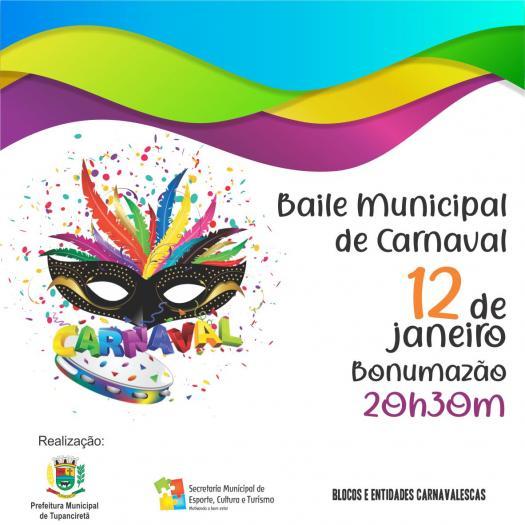 Sábado Terá Baile Municipal De Carnaval