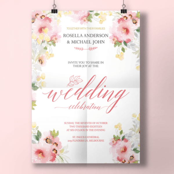 Aquarela Primavera De Convite De Casamento Modelo Para Download
