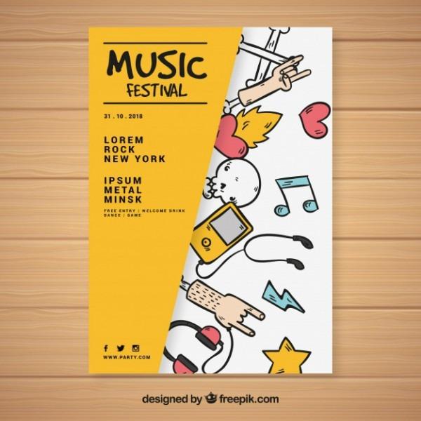 Modelo Criativo Do Cartaz Do Festival De Música