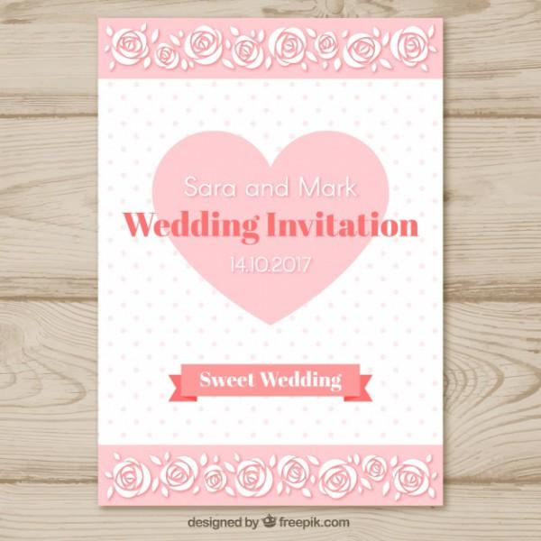 Molde De Convite De Casamento Com Coração