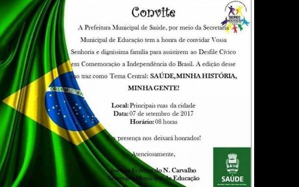 Convite Ao 07 De Setembro De 2017