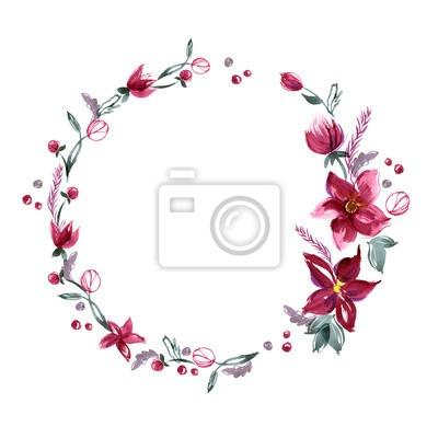 O Fundo Floral Com Mão Pintou Flores Da Aguarela  Convite  Cartão