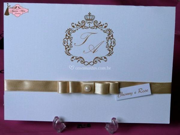 Convite Branco Com Dourado De Amore Mio Convites