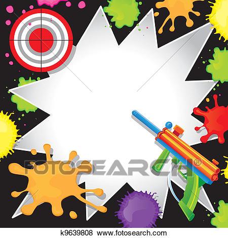 Paintball, Aniversário, Convite Clipart