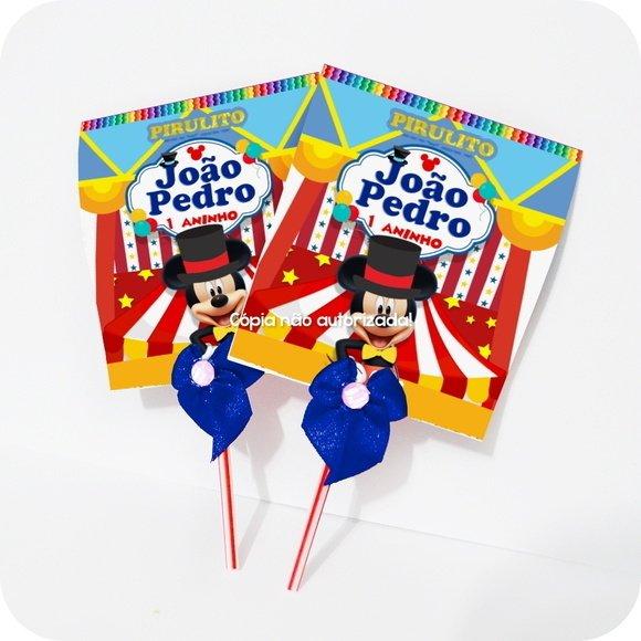 Pirulito Mickey Circo Personalizado