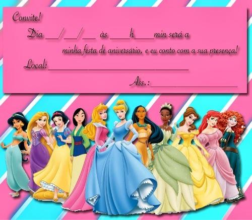 Criativo  Convite De Aniversário Infantil Das Princesas Disney
