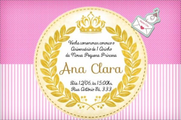 Convite Festa Princesa Por R$12,00
