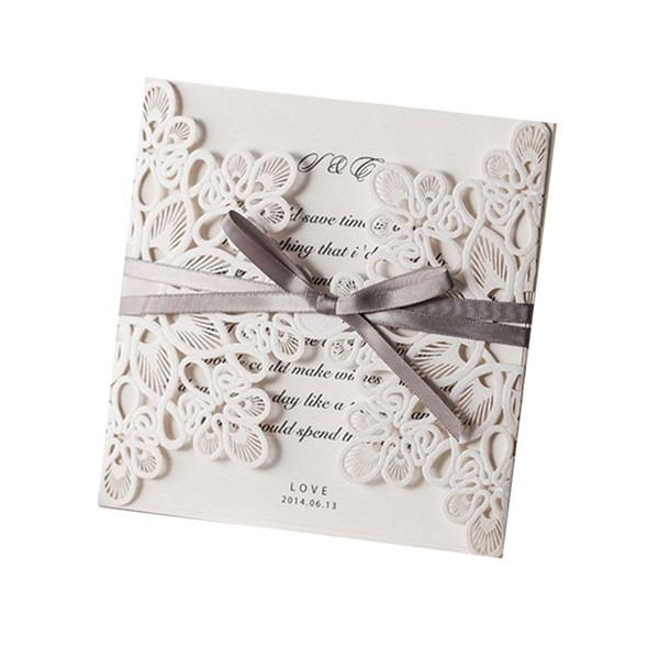 Convites De Casamento Preços Flor Padrão A Laser Cut Lace Convites