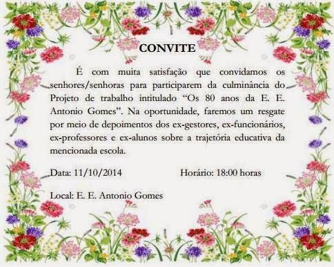12ª Direc  Convite  80 Anos Da Escola Estadual Antonio Gomes