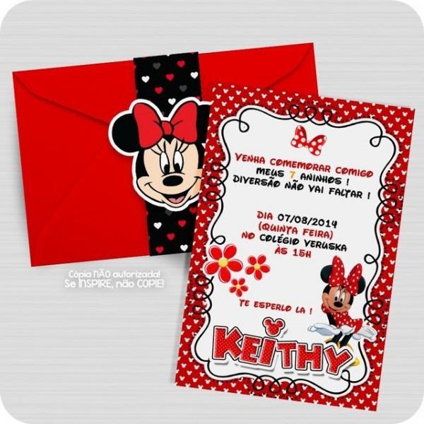 Convite Minnie Mouse Personalizado
