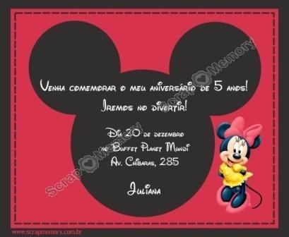 Convite  Minnie  C 20 Unid