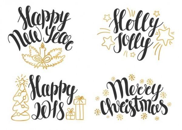 Coleção De Letras De Natal  Mão Desenhadas Frases Para Convites De