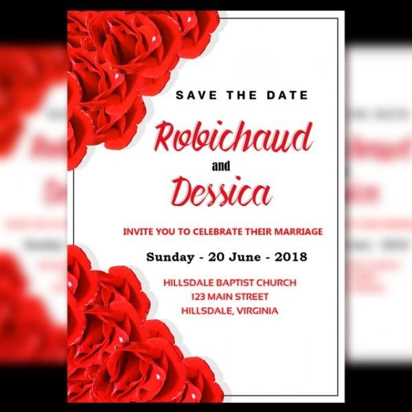 Convite De Casamento Modelo Com Nova Flor Vermelha E Fundo Branco