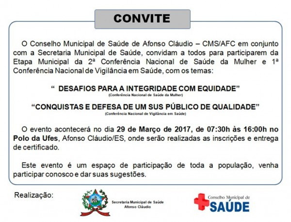Convite  Etapa Municipal Da 2ª Conferência Nacional Da Saúde Das