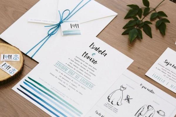 Convites De Casamento Azuis  Lindos, Versáteis E Cheios De