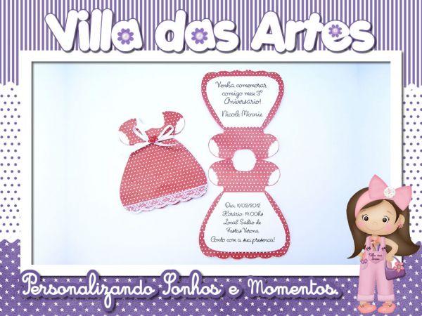 Convite Formato Vestido Minnie