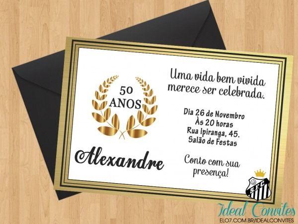 Convite De Aniversario De 50 Anos Feminino