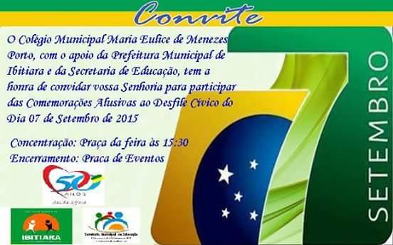 Ibitiara  Convite Desfile 7 De Setembro 2015