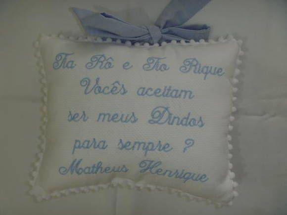 Almofada Convite De Batismo, Personalizado Com O Nome Dos Dindos