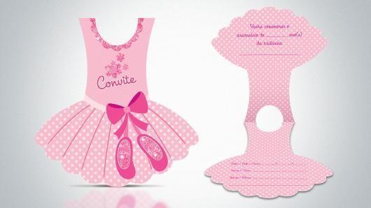 Convites Bailarina Vestido Impresso
