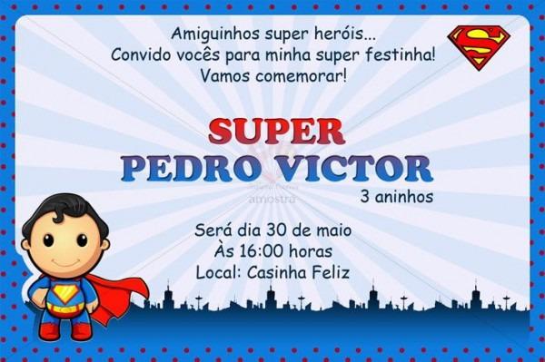 Convite Personalizado Superman Baby