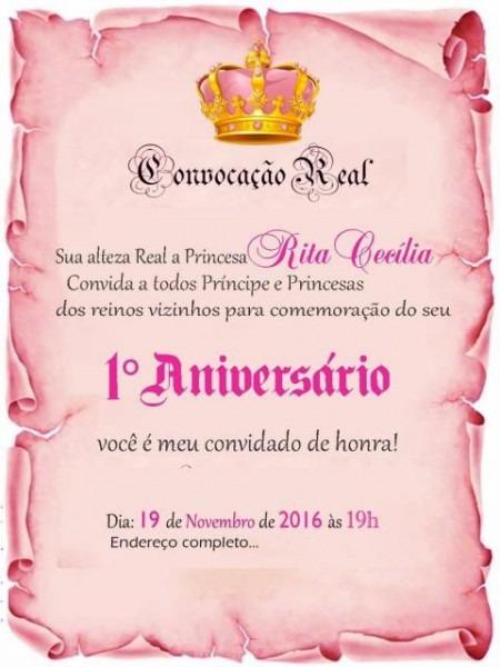 Convite Princesa  65 Ideias Lindíssimas & Modelos Para Imprimir