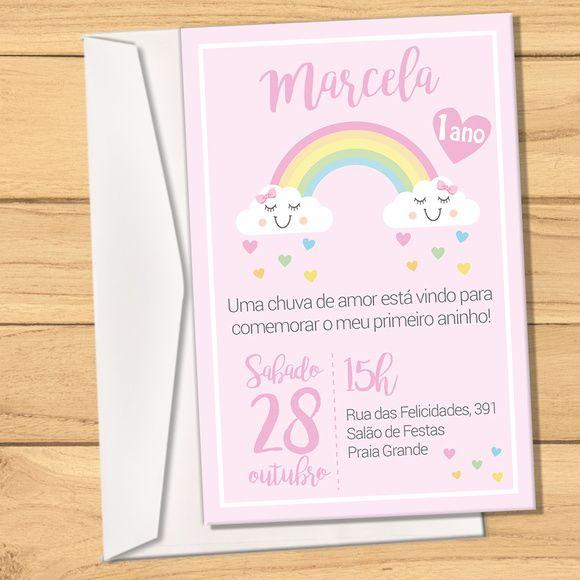 Convite + Envelope Chuva De Amor Arco íris