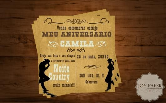 Convite Festa Country No Estilo De Anúncio De Jornal