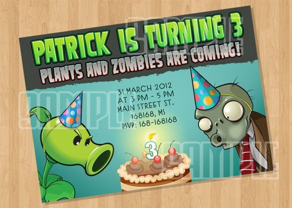Plants Vs Zombies Birthday Party Invitation Model 1