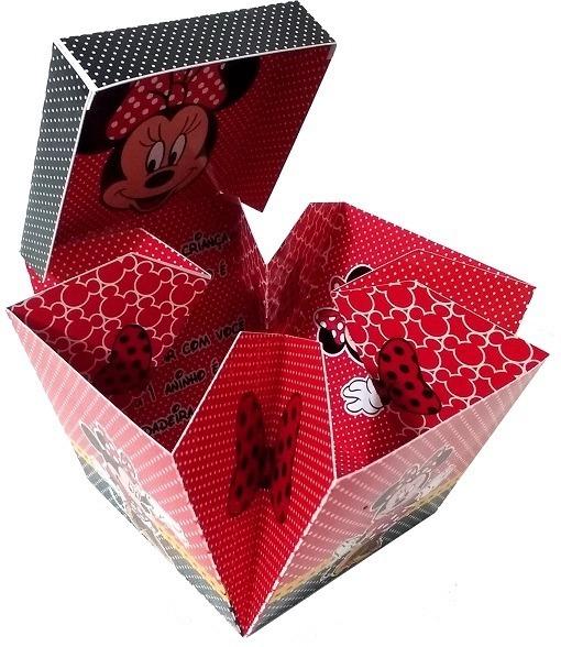 36 Convites Caixa Aniversario Minnie Vermelha Personalizado