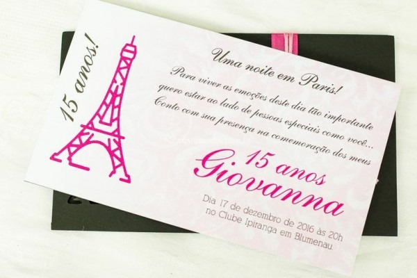 15 Anos Paris De Por Escrito Convites