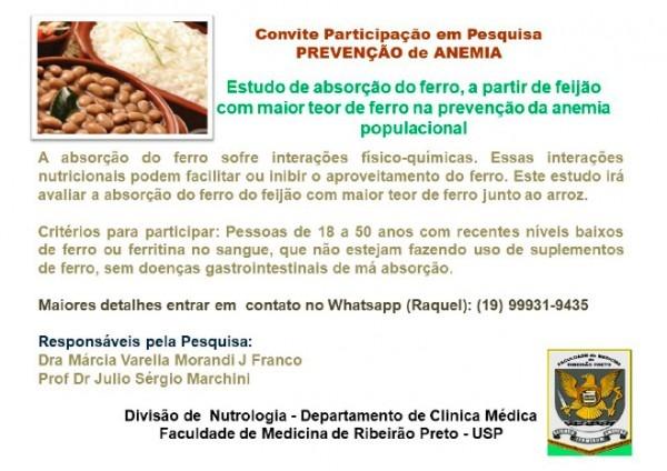 Convite Para Participar De Pesquisa Para Prevenção De Anemia