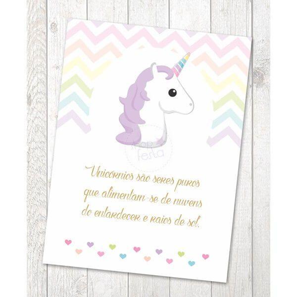 Impresso Porta Retrato 15 X 21 Frase Festa Unicornio