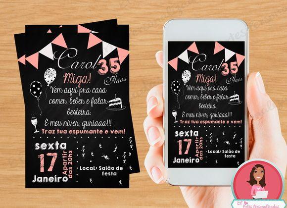 Convite Digital, Convite 30 Anos, Chalkboard, Trintei, Convite