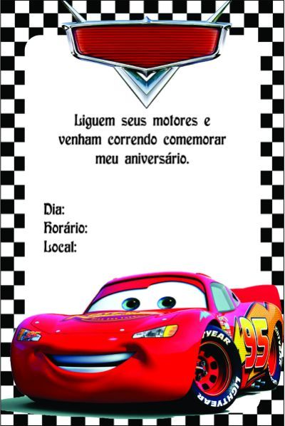 Convite Dos Carros Para Editar