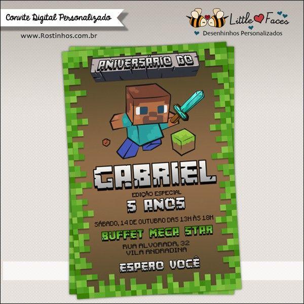 Convite Festa Minecraft Para Imprimir