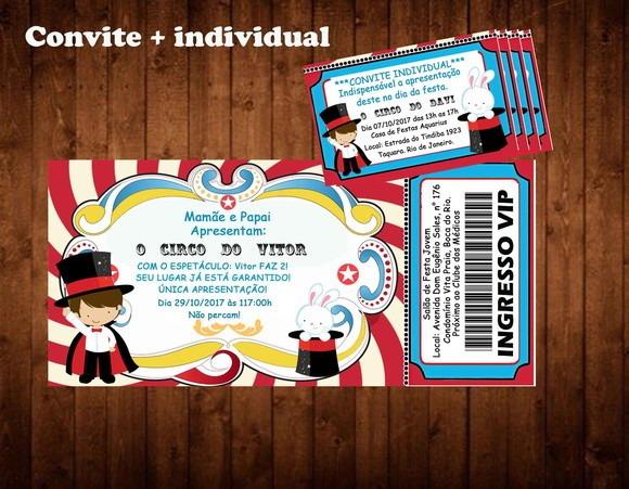 30 Convites Circo + 100 Convite Individual No Elo7