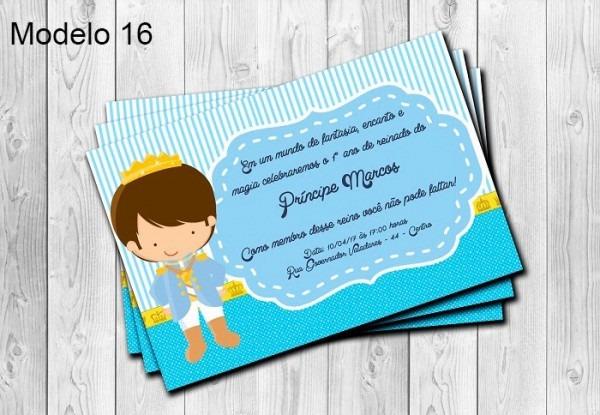 50 Convites Principe Personalizados