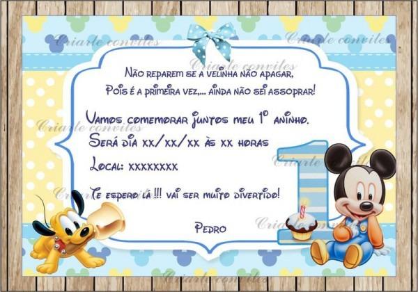 Convite Infantil Mickey Baby   Por Criarte Convites