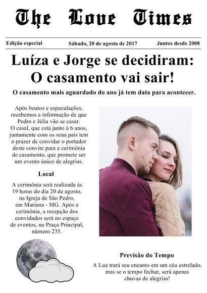 Compre Convite De Casamento Jornal Barato! No Elo7 Por R$ 1,04 Com