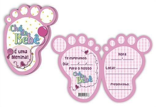 Convite Chá De Bebê Pezinho Rosa
