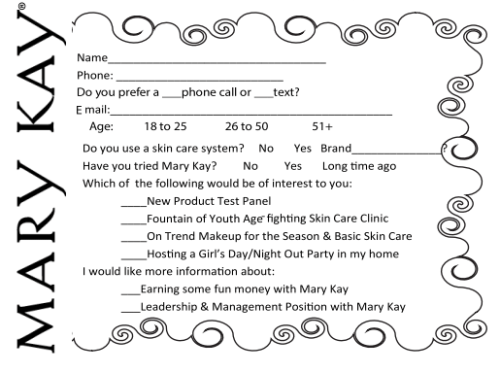 Survey Card For Your Mary Kay® Facial Boxes Or Fish Bowls