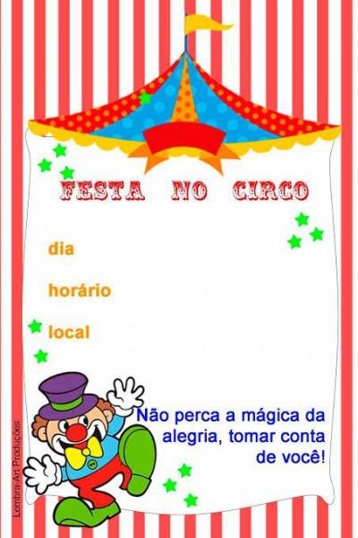 Convite Circo Para Editar E Imprimir Grátis