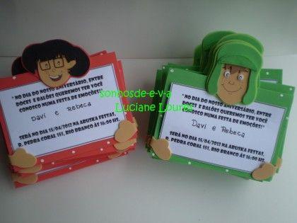 Convites Em Eva Turma Do Chaves Para Aniversario De 1 Ano Menina E
