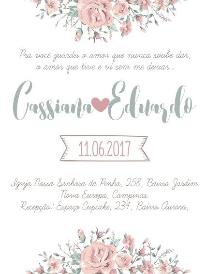 Convite De Casamento Rosa Antigo