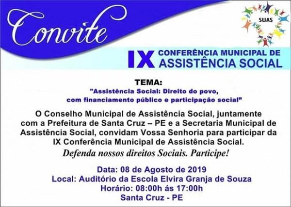 Convite Ix Conferência Municipal Da Assistência Social – Charles