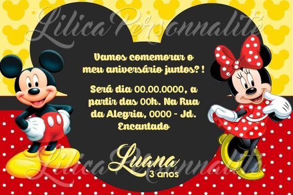 Convites De Aniversario Da Minnie E Do Mickey