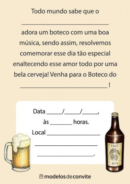 Convites Tema Boteco Prontos Para Imprimir  Convites De Boteco