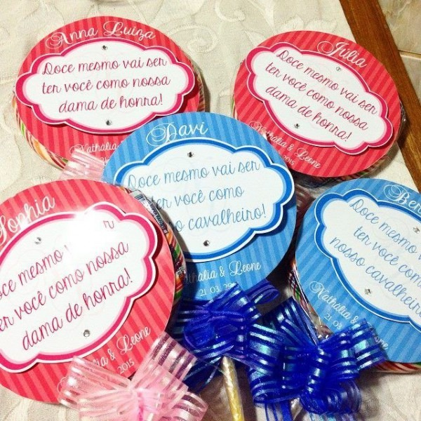 Pirulitos Convite Para Damas De Honra E Cavalheiros
